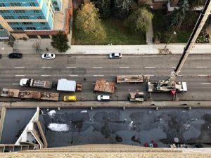 200 ton Crane replaces AC Unit 20 stories up, Calgary, Alberta.